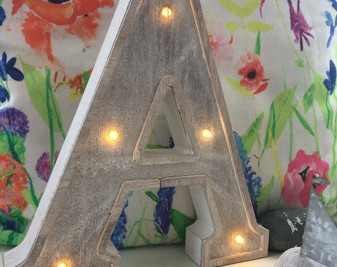 Small Wooden LED Light up Letter Lights - A-Z, &