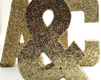 Glitter Letters - Gold - Wedding - Nursery - Baby Shower - Chic - Cute - Decorative - Fun - Glamorous - Decor - Sparkle - Accent Decor