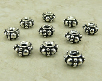 10 TierraCast Turkish Beaded Spacer Beads > Ornate Bali Style - Fine silver Plated LEAD FREE Pewter - I ship Internationally 5580