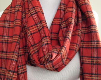 Orange Plaid Flannel Scarf, Flannel Scarf, Orange and Black Plaid Scarf, Plaid Scarf, Winter Gift Scarf, Fabric Scarf, FREE SHIPPING