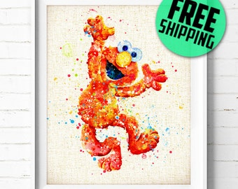 Sesame Street Prints, Elmo Prints, Watercolor Painting, Kids Room Decor, Baby Nursery Decor, Burlap Print, Home Decor, Holiday Gifts, NA355