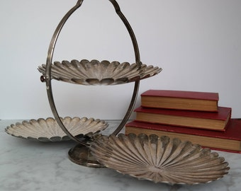 Clam shaped Serving Tray / Foldable / Vintage / Antique / Hollywood Style / Wedding Decor / Home Decor / Entertaining / Silver / Tarnished