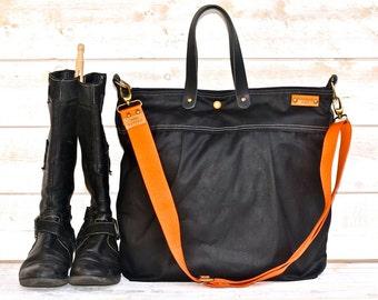 Waxed  Canvas Messenger bag, Diaper bag, Waxed canvas Tote, Leather straps, BLACK Unisex, Men messenger,Travel bag, Women purse, waterproof