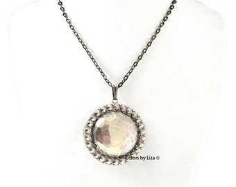 Bejeweled Faceted Medallion Locket Antique Silver Necklace Enamel Colors and Personalized Options Available