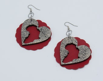 Leather & Wood Afrocentric Africa in Heart Earrings