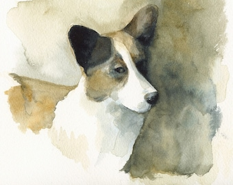 Corgi painting, corgi art, corgi print, watercolor . Sneaky Corgi Archival print, art, dog