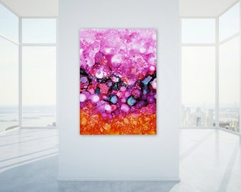 Extra Large Digital Print, Modern Home Decor, Abstract Wall Art, Large Scale Printable, Pink Purple Orange Navy Alcohol Ink Painting Print