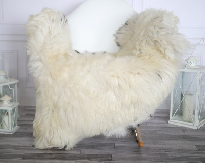 Sheepskin Rug | Real Sheepskin Rug | Shaggy Rug | Chair Cover | Sheepskin Throw | Beige Black Sheepskin | Home Decor | #HERMAJ72