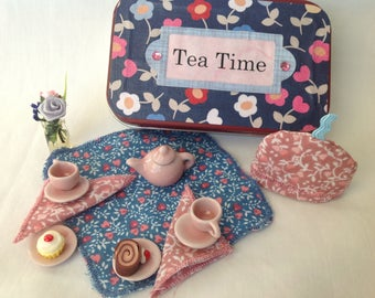 Altoids Miniature Tea Set,Doll Tea Set,Altoids Play Set/Quiet Time Tin/Tea Time Valentine's Day Gift, Miniature Doll House Tea Set