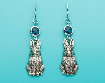 Bunny Earrings, Sapphire Bunny Earrings, Bunny Gift, Sapphire Crystal Earrings, Dangle Earrings, Gifts for Her, 55
