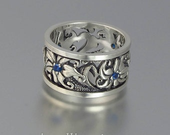 FLORAL Art Nouveau inspired silver band with Blue Sapphires