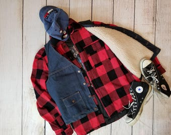 1980's Sherpa Lined Denim Vest By Big Ben