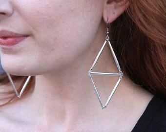 Silvertone Geometric Earrings