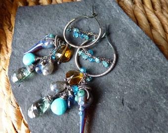 Hoop Earrings, Hydro Quartz, Turquoise, Beer Quartz, Kyanite, Lampwork Beads, Sterling Silver