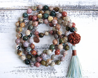 Buddhist Mala Prayer Beads, 108 Knotted Mala Necklace, Japa Beads, Ocean Jasper & Rudraksha For Healing, Protection and Stress Relief