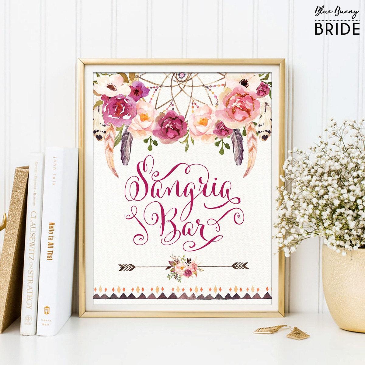 Boho SANGRIA BAR Sign. Floral Bridal Shower Decor. Bohemian