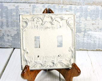 Metal Double Switch plates  Switch with Swirl's Painted White Distressed Chippy Paint Shabby Chic Vintage Home Décor Vintage Switch Plates
