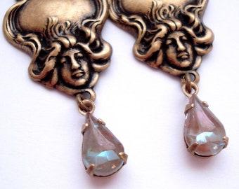 Artisan Art Nouveau Lady Floral German Vintage  Saphiret Glass Leverback Earrings