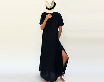 Long Black Dress, Gift for Her, Maxi Dress, Sexy Black Dress, Maxi Kaftan Dress, Black Caftan, Plus Size Caftan, Wide Dress, Loose Dress