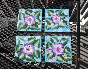 ON SALE Coasters with purple/white Pansies on blue background hand painted great Birthday, Housewarming, Anniversary gift, gift for her