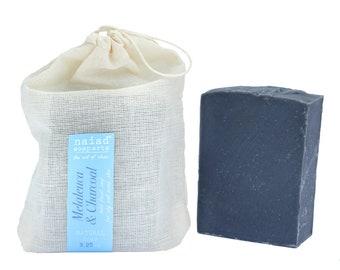 Melaleuca et charbon de bois à l'huile d'Olive Facial Soap - savon arbre thé pour palm peaux grasses - végétalien et sans cruauté - gratuit