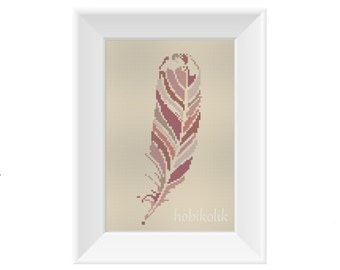 Pink Feather-Cross Stitch Pattern-Modern Sampler-Pdf-Instant Download