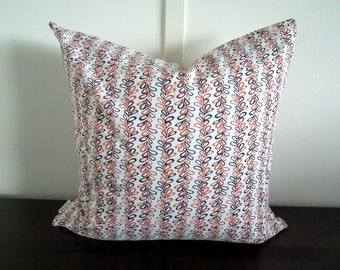 Natural Pillow Cover, Organic Cotton Pillow, Orange, Brown, Red,  Daisy Janie, Decorative Pillow, 18x18