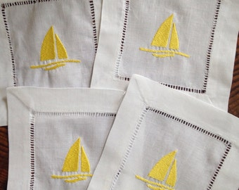 Cocktail Napkin with Embroidered Sailboat/ Monogram Gift - Set of 4