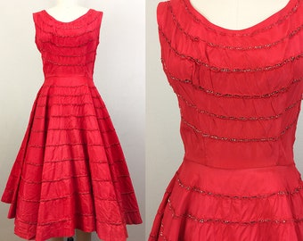 Vintage 50s Red and Metallic Stripe Party Dress 1950s S