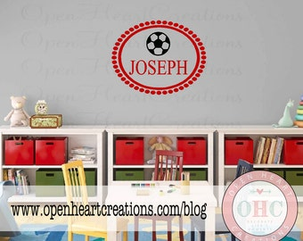 Sports Vinyl Wall Decal - Monogram Baby Boy Decal with Name Soccer Ball and Oval Polka Dot Frame Border 22H x 28W FN0324