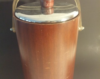 """Ice Bucket Mid-Century Modern """"Thermos"""" With Glass Liner"""