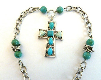 DESIGNER TURQUOISE Cross Necklace, Silver Openwork Beaded Vintage Cross Necklace, Cross with Chunky Neck Chain, Statement Cross Necklace