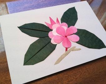 Origami flower card etsy handmade origami plumeria flower greeting card mightylinksfo