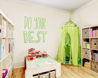 """Do Your Best Wall Quote Decal 36"""" x 39"""" -Inspirational Wall Quote, Typography Decal, Best Quote, Motivational Wall Quote, 61kh-do-your-best"""