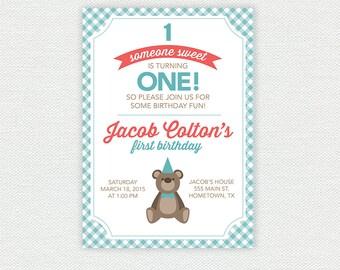 Teddy Bear Birthday Invitation - First Birthday Invitation