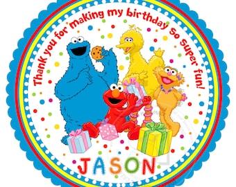 "Custom Elmo Thank you Tags- 2.5"" Printable Elmo, Sesame Street Tags- Personalized Baby Shower, Birthday Thank you Tags- Digital file"