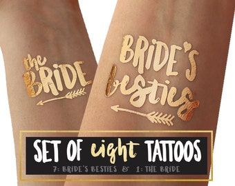Bachelorette Party Tattoos - BRIDES BESTIES & BRIDE - Metallic gold foil temporary tattoo