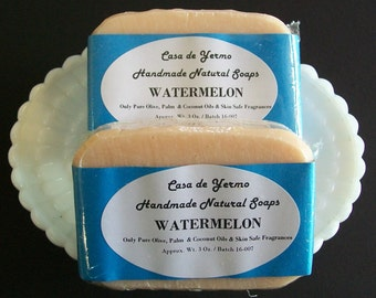 Watermelon Scented 2 Guest Bar Pack. Made with Pure Olive, Palm and  Coconut Oils and Skin Safe Fragrances. (Use Coupon Code CDY18)