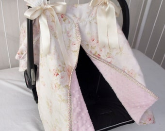 CAR SEAT COVER Canopy Nursing cover - Vintage Shabby Chic Roses Floral Pink on Cream / Ivory made from Mary Rose  Fabric