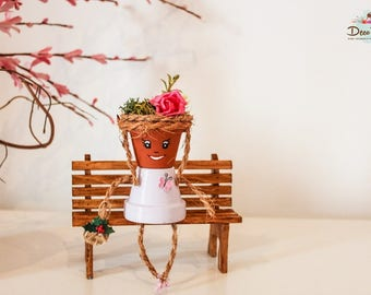 Lotty, Pot person, Birthday gift,  For her,  Terracotta pot,  Indoor decor, Home decor , Unique gift,