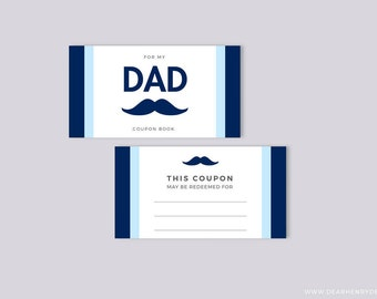 Father's Day Coupon Book, Mustache Blank Printable Coupons, Instant Download, Last Minute Present for Dad, Gift Daddy from Kids, Birthday