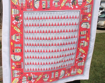 MCM Vintage Tablecloth, Red Yellow and Gray, Chickens, Eggs, Kitchen Items, 52 x 46