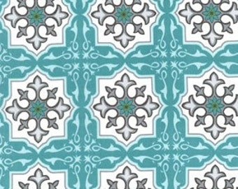 Sanctuary Temple Tiles Ocean by Patty Young for Michael Miller, 1/2 yard