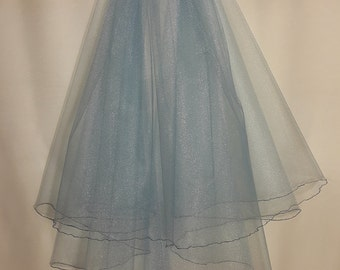 Sky Blue Wedding Veil, Two Layers