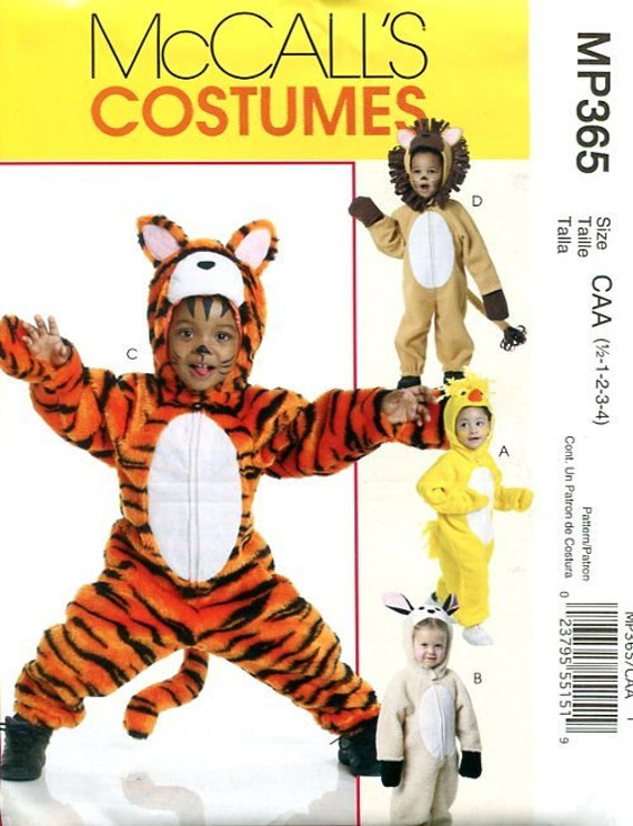 Free Usa Shipping Sewing Pattern McCall\'s 365 Costume Tiger Lion ...