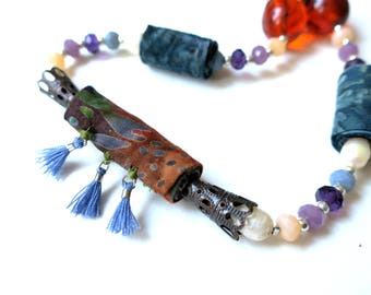 Long colorful fiber necklace, long fabric necklace, colorful necklace