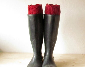Deep red Boot Cuffs / Boot Toppers / Boot Socks / Leg Warmers / Ankle Warmers / Rustic clothing / CHOOSE YOUR COLOR