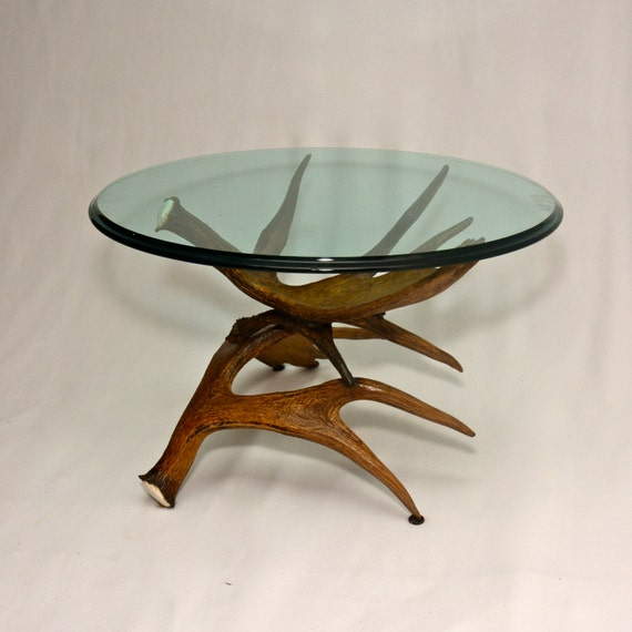Items Similar To Moose Antler Coffee Table W/ Glass Top On