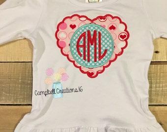 Monogram Valentine's Day shirt - Girl Valentine's shirt - monogram girl Valentine shirt - Valentine's Day shirt - heart monogram shirt