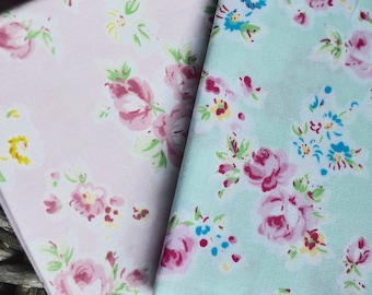 2 pc Fabric set, Pink cotton fabric, Cotton fabric, Fabric, Rose  fabric, Patchwork fabric, Quilting fabric, Floral fabric, Fabric patches
